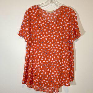 Everleigh Orange Daisy Blouse Size Large